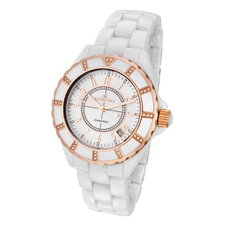 Rougois Women's White Ceramic Rose Goldtone Diamond Watch