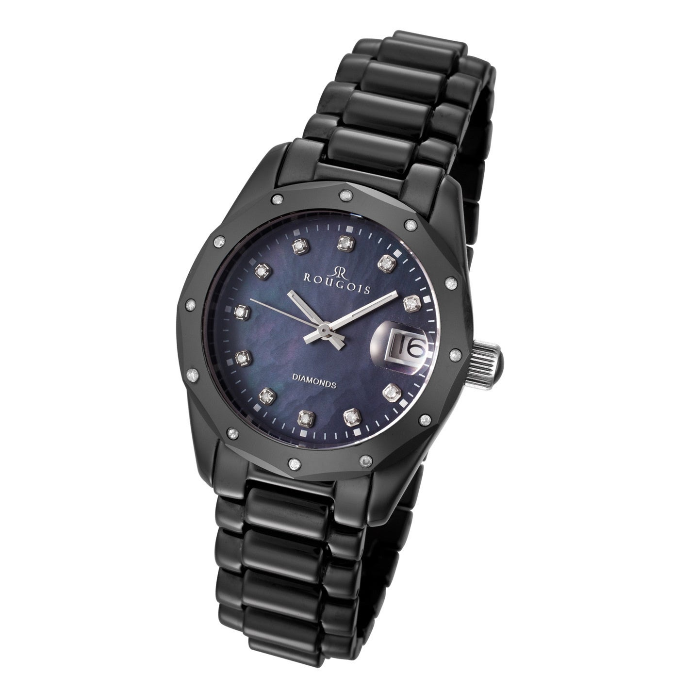 Rougois Women's Black Ceramic Diamond Watch (Black), Moth...