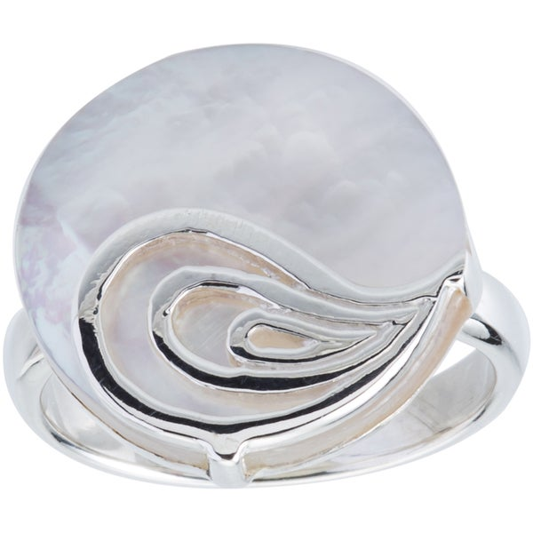 Kele & Co .925 Sterling Silver Mother of Pearl Disc Ring