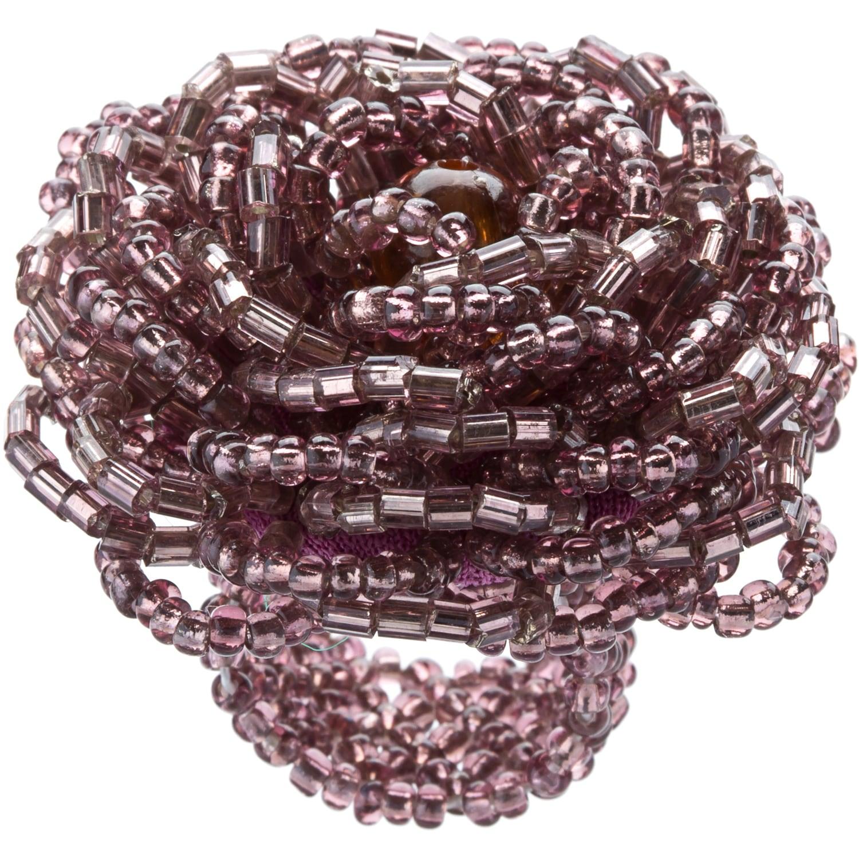 Kele & Co Mauve and Purple Glass Bead Flower-shaped Stret...