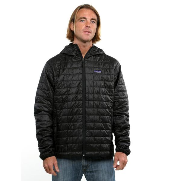 Shop Patagonia Men S Black Nano Puff Hooded Jacket Free