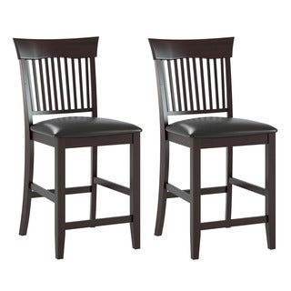 CorLiving Chocolate Black Bonded Leather Bistro Dining Chairs (Set of 2)