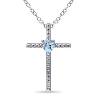Miadora Sterling Silver Blue Topaz Heart Cross Necklace