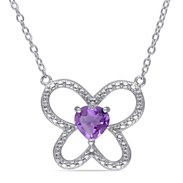 Miadora Sterling Silver Amethyst Butterfly Heart Necklace