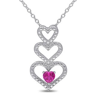Miadora Sterling Silver Created Ruby Triple Heart Necklace