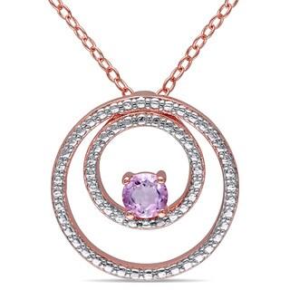 Miadora Rose Plated Silver Rose de France Circle Necklace