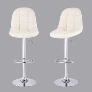 Adeco Cream Tufted Faux Leather, Adjustable Chrome Base Barstools (Set of 2)