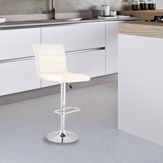 Adeco Cream Channel Tufted Faux Leather, Adjustable Chrome Barstools (Set of 2)