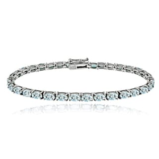 Glitzy Rocks Sterling Silver 8 3/4ct Aquamarine Oval Tennis Bracelet