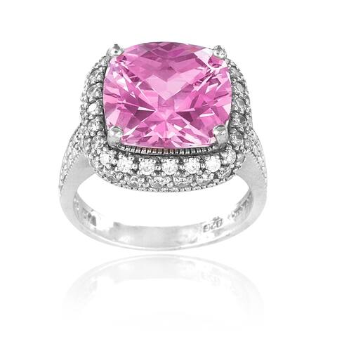 Icz Stonez Sterling Silver 10ct TGW Pink Cubic Zirconia Square Ring