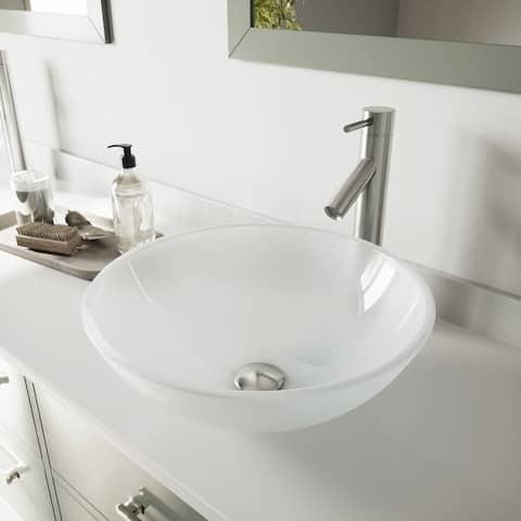 VIGO White Frost Glass Vessel Bathroom Sink Set with Dior Faucet