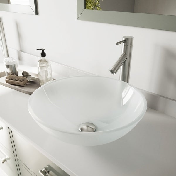 VIGO White Frost Glass Vessel Bathroom Sink Set with Dior Faucet. Opens flyout.