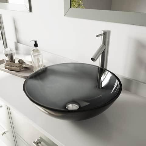 VIGO Sheer Black Glass Vessel Bathroom Sink and Dior Faucet Set