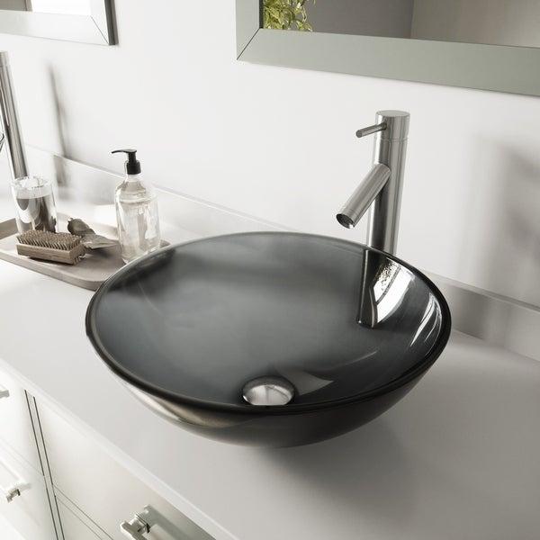 VIGO Sheer Black Glass Vessel Bathroom Sink and Dior Faucet Set. Opens flyout.