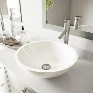 VIGO Flat Edged White Phoenix Stone Vessel Sink and Dior Faucet Set