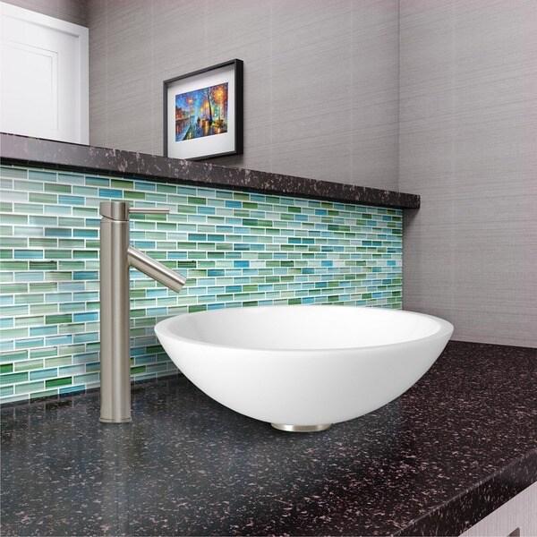 VIGO Flat Edged White Phoenix Stone Glass Vessel Sink and Dior Brushed ...