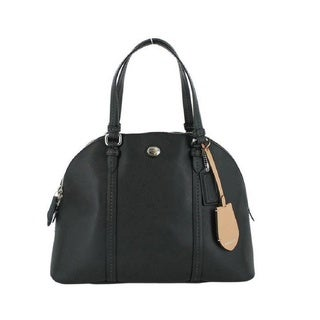 Coach 'Peyton' Black Leather Domed Sachel