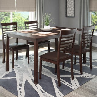 CorLiving 5-piece Dark Cocoa Dining Set with Ladder Back Chairs