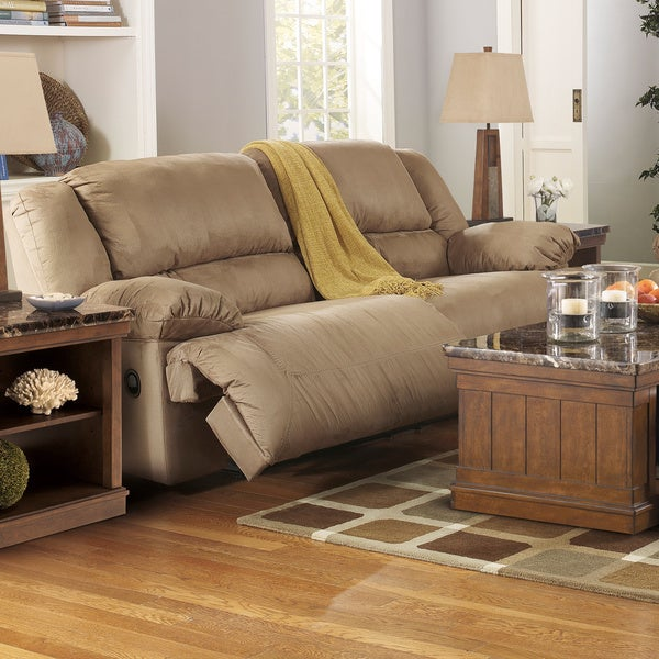 Signature Design By Ashley Hogan Mocha Two Seat Reclining Sofa Free Shipping Today 16758276