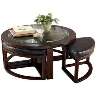 Marion Dark Brown Cocktail Table and Stools (Set of 5)
