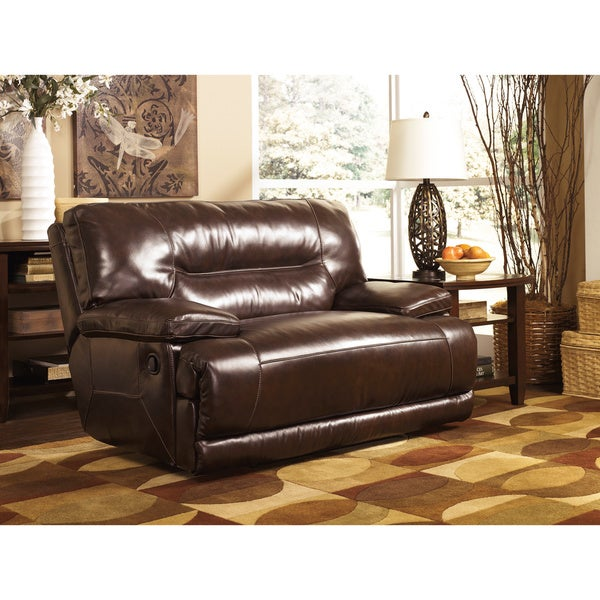 by ashley exhilaration chocolate leather zero wall wide seat recliner