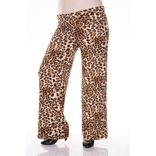White Mark Plus Size Cheetah Palazzo Pants