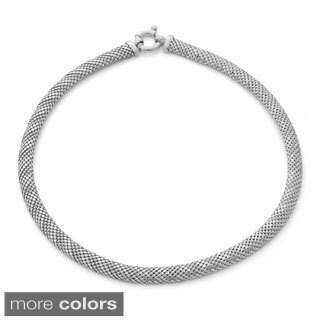 Gioelli Sterling Silver Designer Mesh Popcorn Chain Necklace