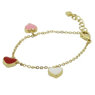 Gioelli Junior Jewels Gold Overlay Enamel Hearts Bracelet
