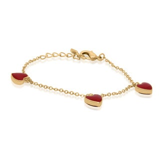 Gioelli Junior Jewels Gold Overlay Enamel Hearts Bracelet
