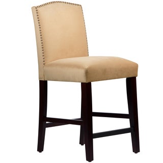 Made to Order Nail Button Arched Counter Stool in Velvet Buckwheat