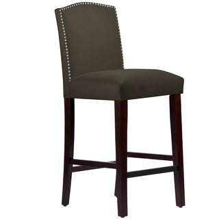 Made to Order Nail Button Arched Barstool in Velvet Pewter