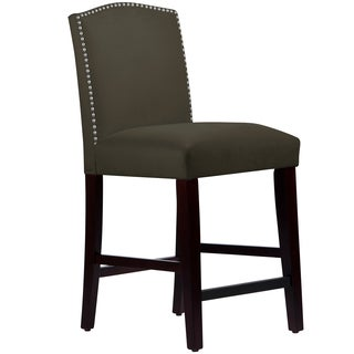 Made to Order Nail Button Arched Counter Stool in Velvet Pewter