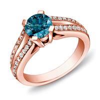 Auriya 14k Rose Gold Split-Shank 1 1/4ct TDW Round  Blue Diamond Engagement Ring