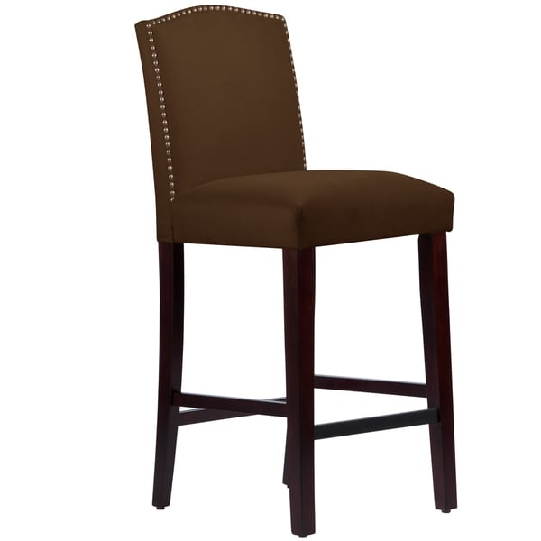 Made To Order Nail Button Arched Barstool In Velvet