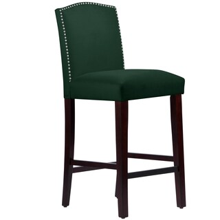 Made to Order Nail Button Arched Barstool in Velvet Emerald