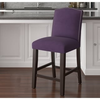 Made to Order Nail Button Arched Counter Stool in Velvet Aubergine