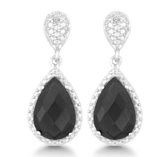 La Preciosa Sterling Silver Faceted Onyx and Diamond Teardrop Earrings (I-J, I2-I3)