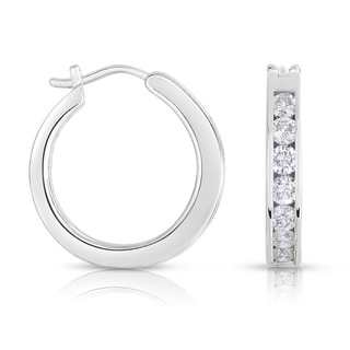 Eloquence 18k White Gold 2ct TDW Diamond Hoop Earrings (H-I, SI1-SI2)