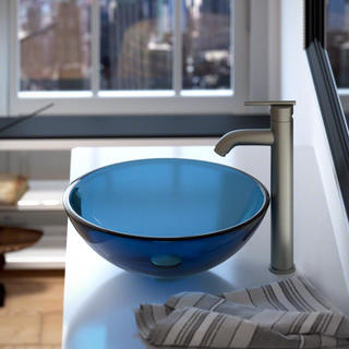 MR Direct 601 Aqua Coloured Glass Vessel Sink