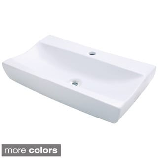 White Porcelain Long Vessel Sink