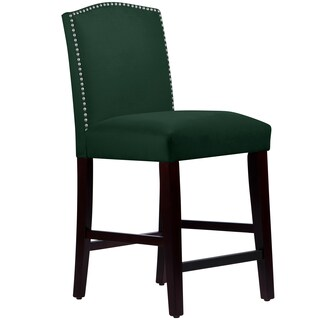 Made to Order Nail Button Arched Counter Stool in Velvet Emerald