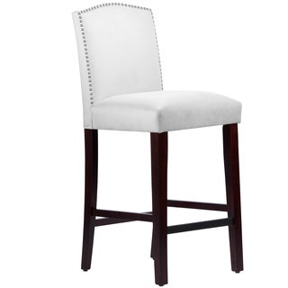 Made to Order Nail Button Arched Barstool in Velvet White