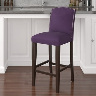 Made to Order Nail Button Arched Barstool in Velvet Aubergine