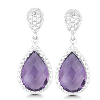 La Preciosa Sterling Silver 1/5ct TDW Diamond and Amethyst Teardrop Earrings (I-J, I2-I3)