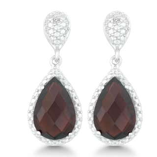 La Preciosa Sterling Silver Faceted Garnet Diamond Accent Teardrop Earrings