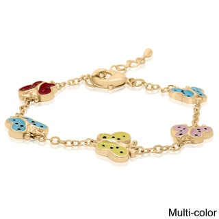 Junior Jewels Gold Enamel 5 Butterfly Bracelet