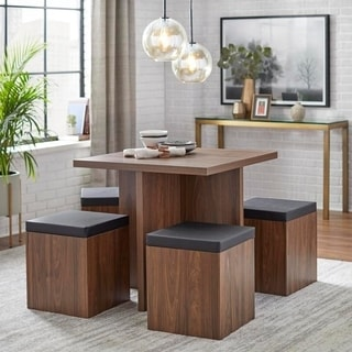 Simple Living 5-piece Baxter Dining Set with Storage Ottomans (2 options available) : modern dining tables sets - pezcame.com