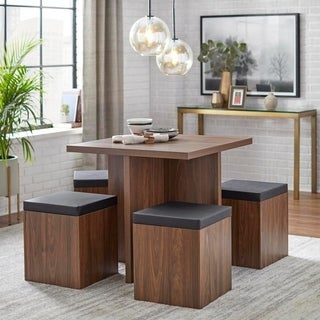 Simple Living 5-piece Baxter Dining Set with Storage Ottomans (2 options available)