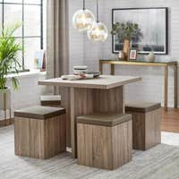 Deals on Simple Living Baxter Dining Set with Storage Ottomans