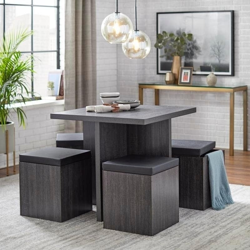 Shop Simple Living 5 Piece Baxter Dining Set With Storage Ottomans